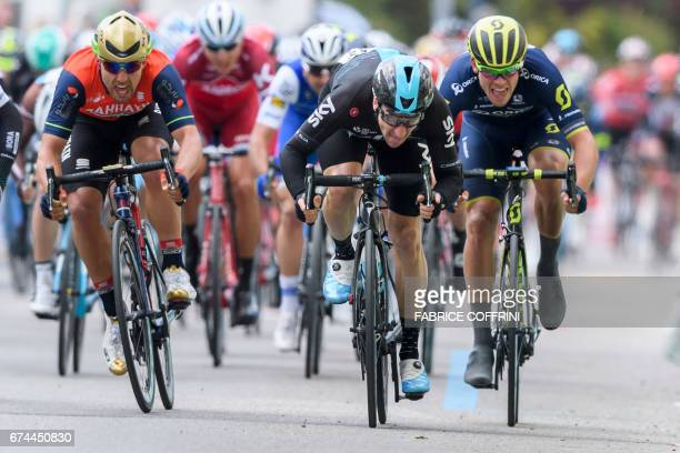 Italian Elia Viviani of team Sky sprints to win the third stage of the Tour de Romandie UCI protour cycling race a 187km loop from Payerne to Payerne...