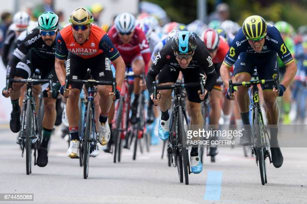 Italian Elia Viviani of team Sky sprints to win the third stage of Tour de Romandie UCI protour cycling race a 187km loop Payerne to Payerne on April...