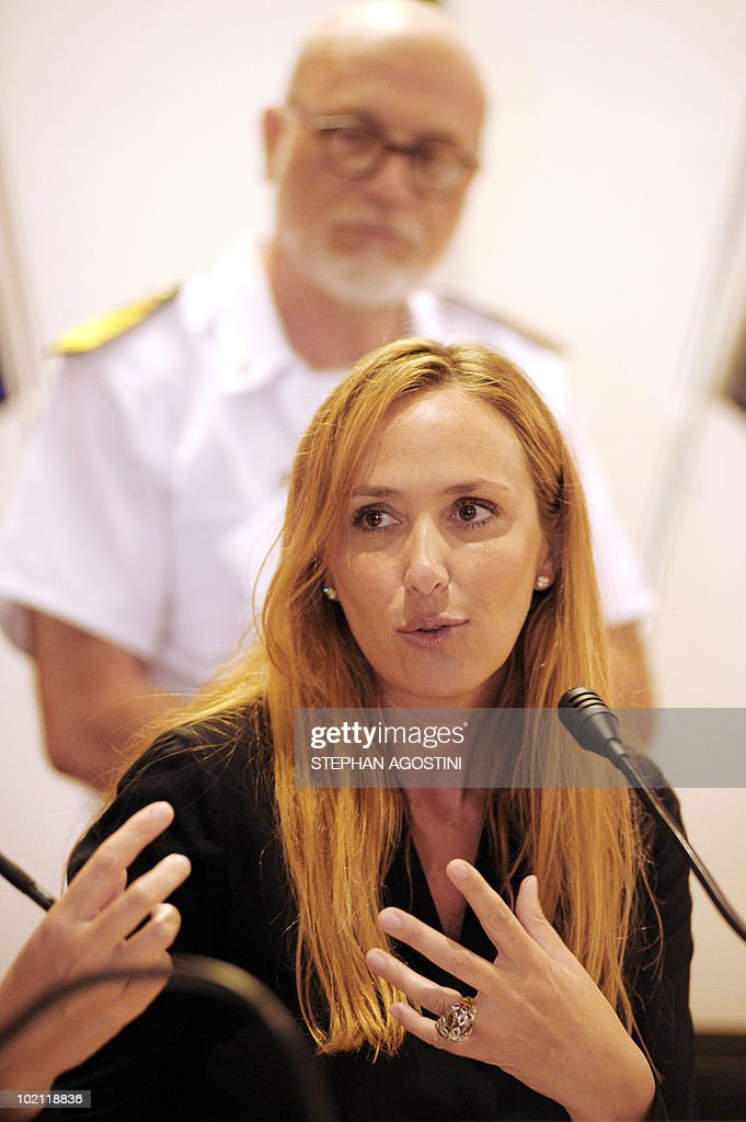 Italian Environment Minister Stefania Prestigiacomo delivers a speech during a joint press conference with his French counterpart Jean-Louis Borloo on June 15, 2010 at Palau on the Italian Mediterranean island of Sardaigna. Borloo and Prestigiacomo are due to ask the UN to forbid the transit of ships carrying hazardous material in the mouths of Bonifacio.
