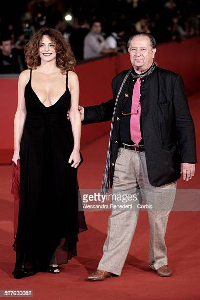 Italian erotic movie director Tinto Brass and guest arrive at Rome's Auditorium to attend the premiere of movie 'L'UOMO CHE AMA' presented in...