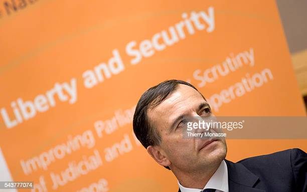 Italian EU Commissionner for Justice Freedom and Security Franco Frattini listens during a meeting about improving f judicial and police cooperation...
