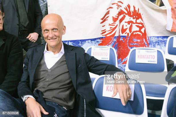 Italian ex international football referee Pierluigi Collina supporter of Kontatto looks over during the LegaBasket LNP of serie A2 match between...