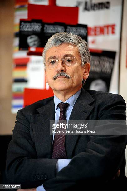 Italian ex Premier Massimo D'Alema presents his latest book about politics 'Contro Corrente' with professor Carlo Galli candidate of PD on next...