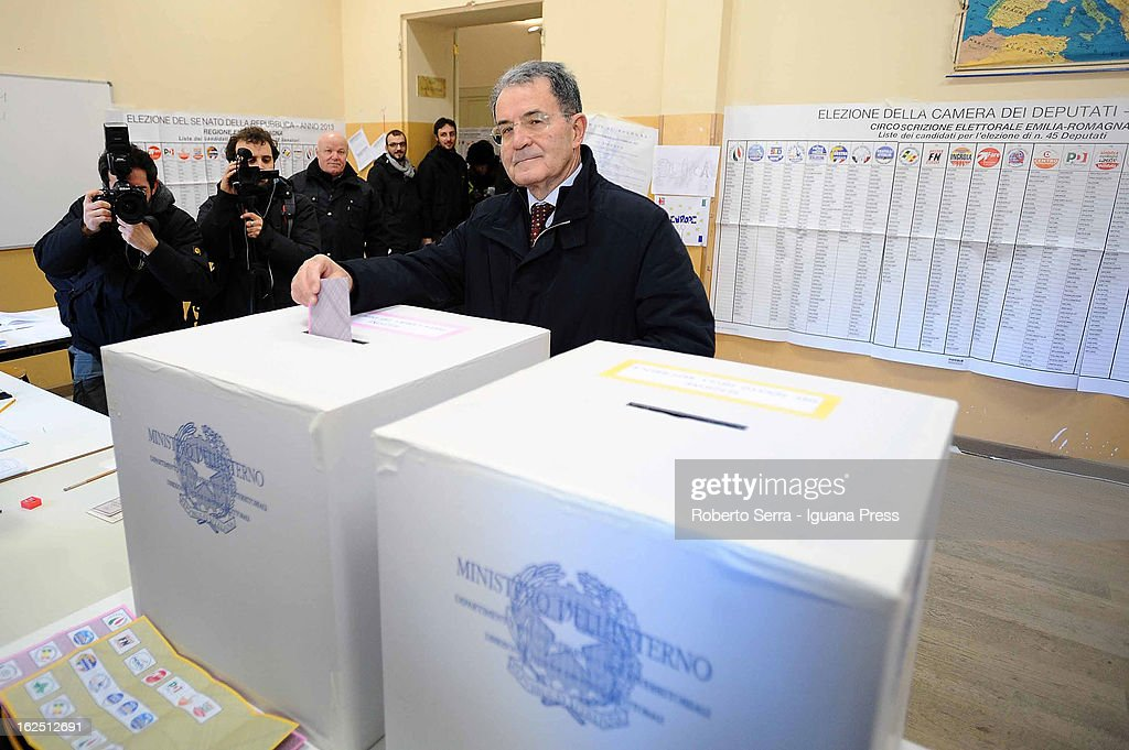 Italian ex Premier <a gi-track='captionPersonalityLinkClicked' href=/galleries/search?phrase=Romano+Prodi&family=editorial&specificpeople=203301 ng-click='$event.stopPropagation()'>Romano Prodi</a> votes on February 24, 2013 in Bologna, Italy. Italians are heading to the polls today to vote in the elections, as the country remains in the grip of economic problems. Pier Luigi Bersani's centre-left alliance is believed to be a few points ahead of the centre-right bloc led by ex-Prime Minister Silvio Berlusconi.