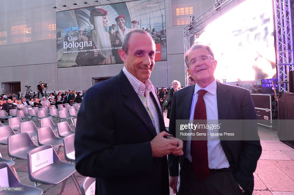 Italian ex Prime Minister <a gi-track='captionPersonalityLinkClicked' href=/galleries/search?phrase=Romano+Prodi&family=editorial&specificpeople=203301 ng-click='$event.stopPropagation()'>Romano Prodi</a> (R) and <a gi-track='captionPersonalityLinkClicked' href=/galleries/search?phrase=Ettore+Messina&family=editorial&specificpeople=660672 ng-click='$event.stopPropagation()'>Ettore Messina</a> (L) assistant coach of San Antonio Spurs NBA club attends the ReUniOn of ex students of the Università degli Studi of Bologna Alma Mater Studiorum at Piazza Maggiore on June 20, 2015 in Bologna, Italy.