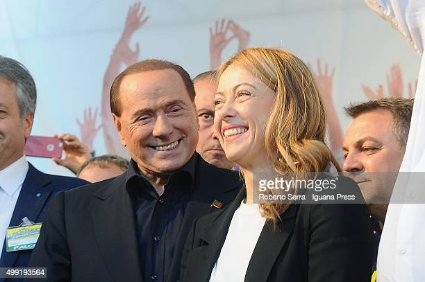 Italian ex prime minister Silvio Berlusconi leader of Forza Italia and Giorgia Meloni leader of Fratelli d'Italia political party attends the...
