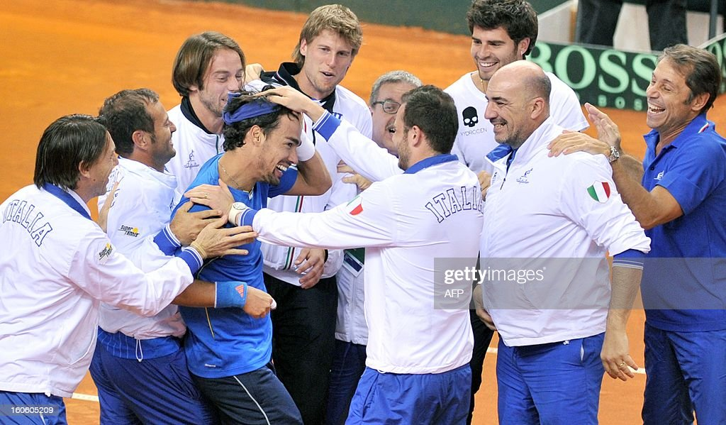 Italian Fabio Fognini celebrates with his team after winning his Davis Cup tennis match against Croatian Ivan Dodig on February 3, 2013 in Turin.