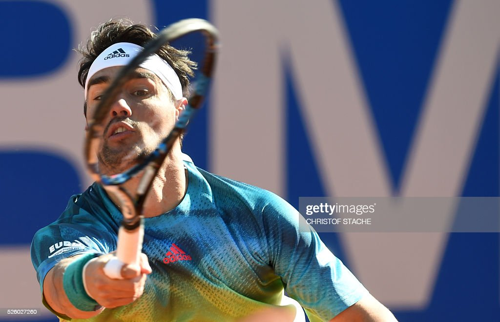 Italian Fabio Fognini returns the ball during his quarter final match against Slovakian Jozef Kovalik at the ATP tennis Open in Munich, southern Germany, on April 29, 2016. / AFP / CHRISTOF