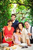 Italian family setting table