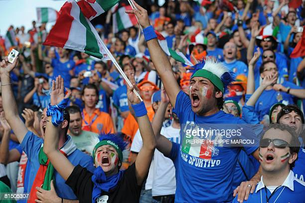 Italian fans cheer their team before their Euro 2008 Championships Group C football match Netherlands vs Italy on June 9 2008 at the stade de Suisse...