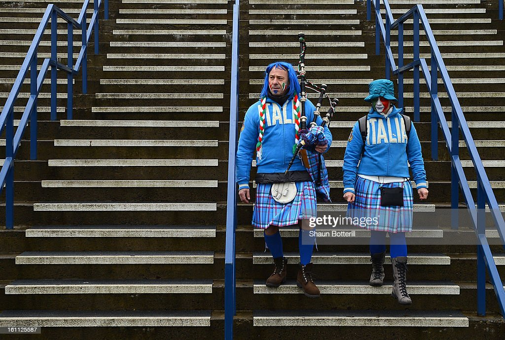 Italian fans dressed in kilts arrive before the RBS Six Nations match between Scotland and Italy at Murrayfield Stadium on February 9, 2013 in Edinburgh, Scotland.