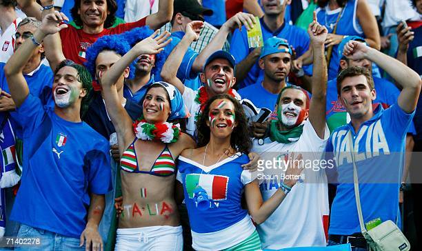 Italian fans soak up the atmosphere prior to the FIFA World Cup Germany 2006 Final match between Italy and France at the Olympic Stadium on July 9...