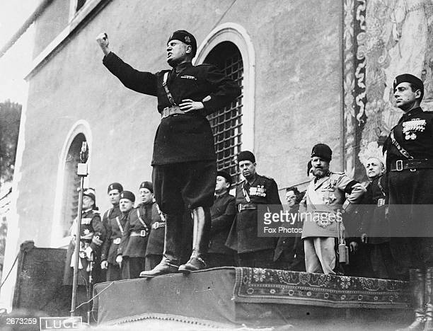 Italian fascist dictator Benito Mussolini giving a speech