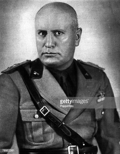 Italian fascist leader Benito Mussolini wearing military uniform