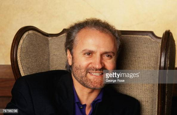 Italian fashion designer and toast of Paris Miami and New York social circles Gianni Versace poses in a 1991 Los Angeles California photo