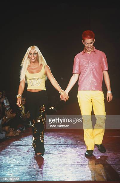 Italian fashion designer Donatella Versace appears on the catwalk after the Versus by Versace Spring 2000 fashion show at New York's Roseland 12th...