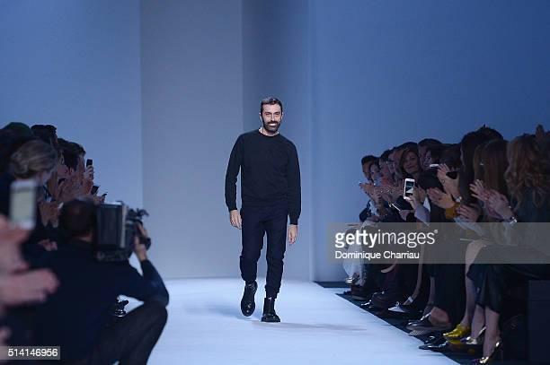 Italian fashion designer Giambattista Valli poses on the runway during the Giambattista Valli show as part of the Paris Fashion Week Womenswear...