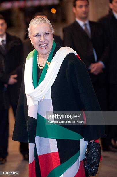 Italian fashion designer Laura Biagiotti arrives at the Teatro dell'Opera to attend the Giuseppe Verdi's Nabucco directed by Riccardo Muti as part of...