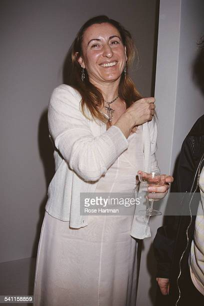 Italian fashion designer Miuccia Prada at her Miu Miu Fall 1995 Collection fashion show USA 1995
