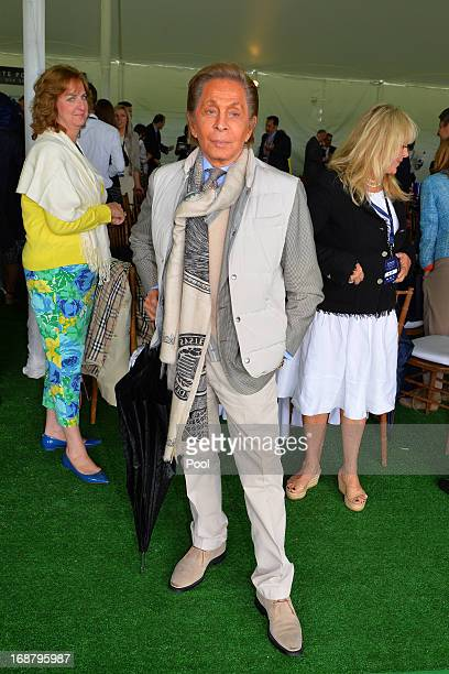 Italian fashion designer Valentino looks on at the Greenwich Polo Club during the sixth day of Prince Harry's US visit on May 15 2013 in Greenwich...