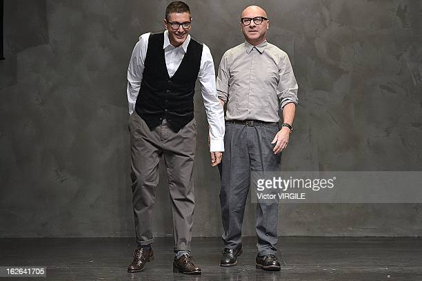 Italian fashion designers Domenico Dolce and Stefano Gabbana walks the runway at the Dolce Gabbana Ready to Wear Fall/Winter 20132014 fashion show as...