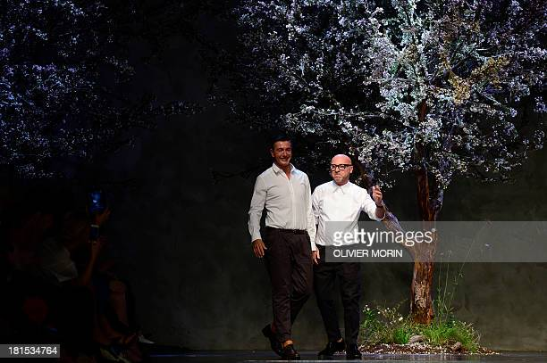 Italian fashion designers Domenico Dolce and Stefano Gabbana wave at the end of their show for fashion house Dolce Gabbana as part of the...