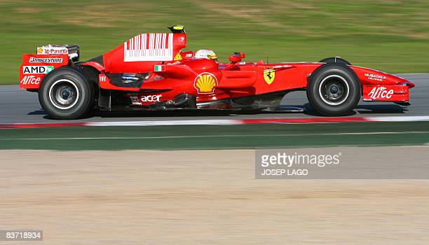 Italian Ferrari Formula 1 driver Luca Badoer drives during a training session at the Catalonia racetrack in Montmelo near Barcelona on November 17...