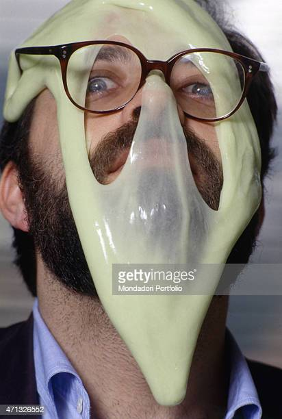 Italian film critic director and TV authorMarco Giusti with something liquid dripping onto his face The shapeless mass is called in English blob as...