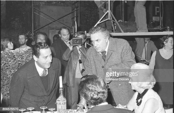 Italian film director Federico Fellini with Alberto Sordi during the shooting of the movie 'Roma' Rome 1971