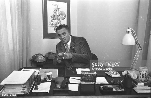 Italian film director Federico Fellini works at his studio in Cinecittà Rome 1970
