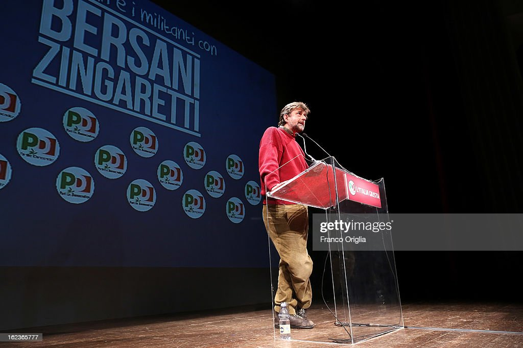 Italian film director <a gi-track='captionPersonalityLinkClicked' href=/galleries/search?phrase=Nanni+Moretti&family=editorial&specificpeople=621165 ng-click='$event.stopPropagation()'>Nanni Moretti</a> holds a speech at the PD (Democratic Party) final campaign rally at the Ambra Jovinelli theatre on February 22, 2013 in Rome, Italy. Moretti's 2011 film 'Habemus Papam' dealt, controversially, wth a fictional abdication of Pope Benedict XVI.