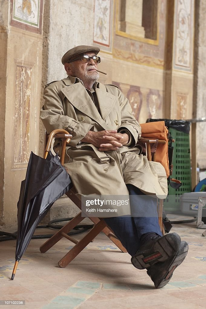 Italian film producer Dino De Laurentiis (1919 - 2010) on the set of the film 'Virgin Territory' in Italy, 2007.