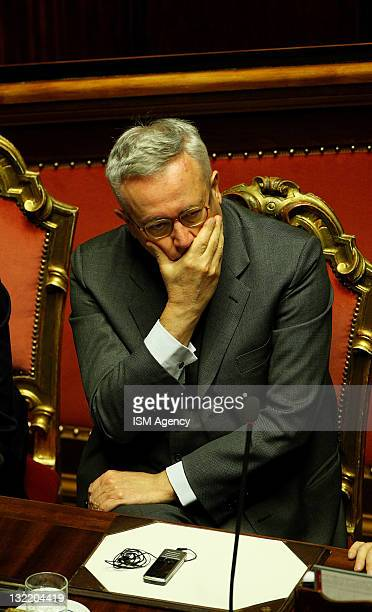 Italian Finance Minister Giulio Tremonti attends a vote on the 2012 Budget Law on November 11 2011 in Rome Italy Italian Prime Minister Silvio...