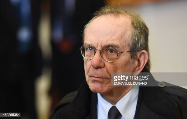 Italian Finance Minister Pier Carlo Padoan addresses the media ahead of a Eurogroup finance ministers meeting at the European Council in Brussels on...