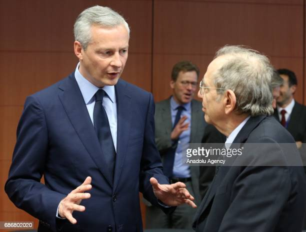Italian Finance Minister Pier Carlo Padoan and French Economy Minister Bruno Le Maire attend the Euro Zone Finance Ministers Meeting in Brussels...