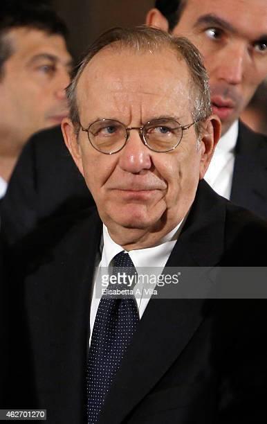 Italian Finance Minister Pier Carlo Padoan attends the President of Italian Republic Sergio Mattarella Ceremony of Installation at Quirinale on...