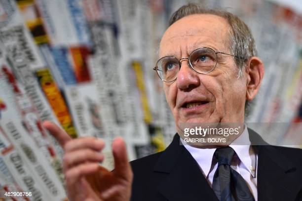 Italian Finance Minister Pier Carlo Padoan gives a press conference at the Foreign Press Club in Rome on August 4 2015 AFP PHOTO / GABRIEL BOUYS
