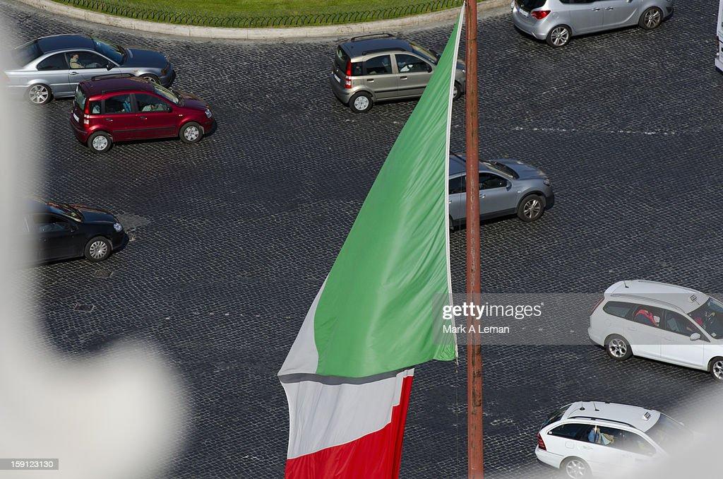 Italian flag and traffic, Italy : Stock Photo