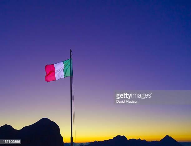 Italian flag in the Dolomites.
