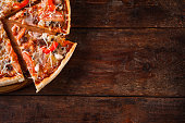 Food Background Pizza Slice Wooden Rustic Table Flat Lay Italian Cuisine Concept