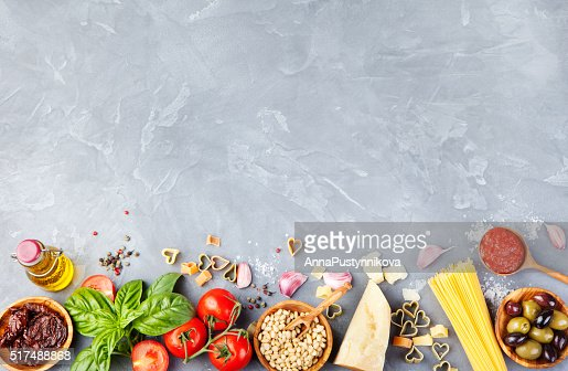 Italian food background on stone table Copy space Top view : Stock Photo
