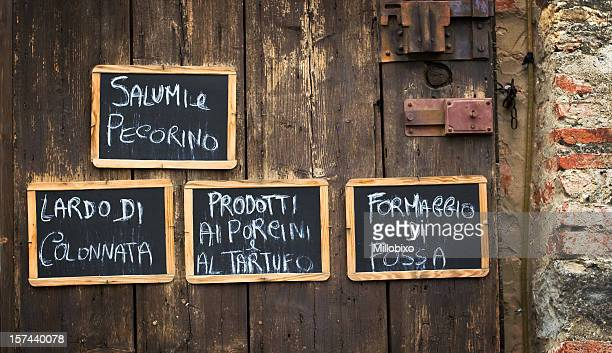 Italian food written on blackboards