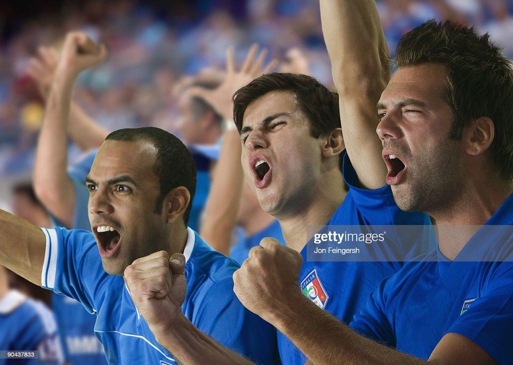 Italian football fans cheering
