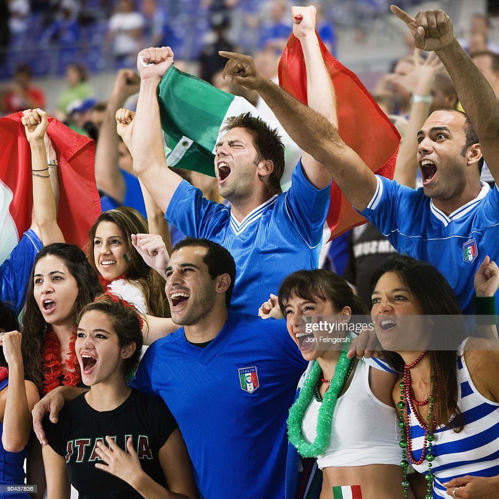 Italian football fans cheering : Stock Photo