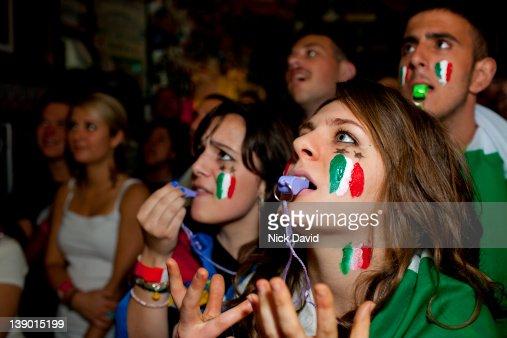 Italian football fans watch World Cup 2010