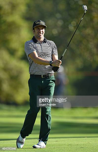 Italian football legend Alessandro del Piero plays a shot during the Pro Am of the 71st Italian Open Damiani at Circolo Golf Torino on August 27 2014...