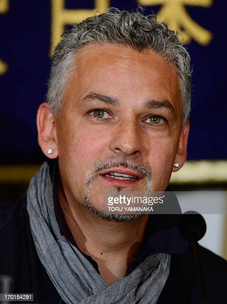 Italian football legend Roberto Baggio speaks during a press conference at the Foreign Correspondents' Club of Japan in Tokyo on June 8 2013 Baggio...