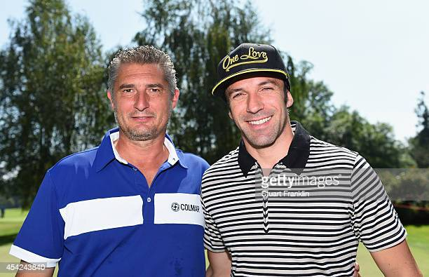 Italian football legends Daniel Massaro and Alessandro del Piero before the Pro Am of the 71st Italian Open Damiani at Circolo Golf Torino on August...