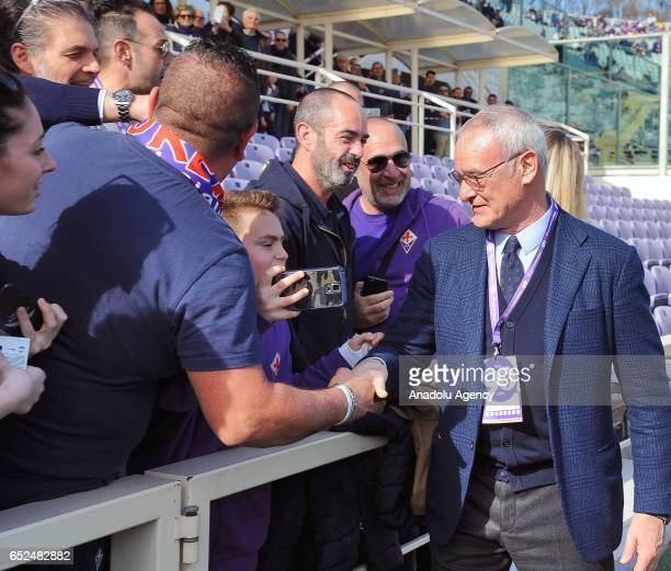 Italian football manager Claudio Ranieri attends a celebration at the Artemio Franchi Stadium on the 90th anniversary of the foundation of ACF...