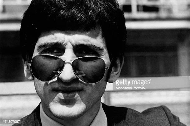 Italian football player Luigi Meroni sitting in the dressing room of the Municipal Stadium Turin May 1965